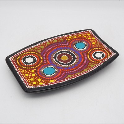 Lee Rehardt Hand Painted Aboriginal Style Serving Dish