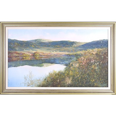 James Meverley (Australian, Dates Unknown) Autumn Gold (High Country Lake Scene) Oil on Board