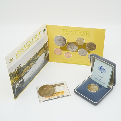 RAM $1 Proof Coin First Year of Issue, 1988 Bronze $5 Coin and 1988 Eight Coin Mint Set