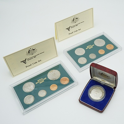 1982 Xii Commonwealth Games Brisbane Coins Sets Including Two Proof Coins Sets And 10 Silver Proof Coin