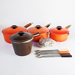 Four French Le Crueset Saucep and with Lids and Seven Fondue Forks