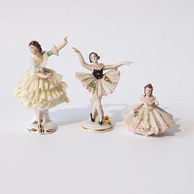 Three Crinoline Ballerinas Including Meissen and Dresden