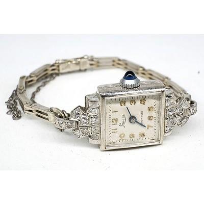 Ladies Art Deco 9ct White Gold, Diamond and Sapphire Lunesa Wristwatch
