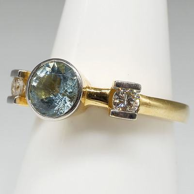 18ct Yellow and White Gold Ring with Round Aquamarine and Two Round Brilliant Cut Diamonds