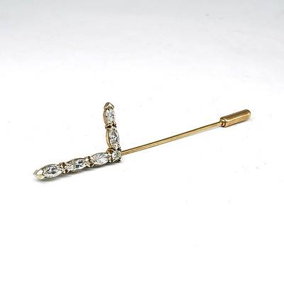 9ct Yellow Gold Lapel Pin with Five Marquise Cut Diamonds and One Round Brilliant Cut Diamond