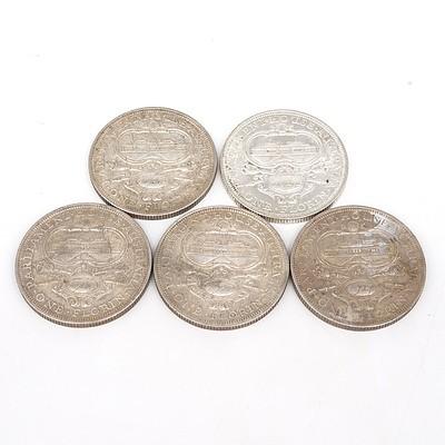 Five Australian 1927 Silver Parliament House Florins