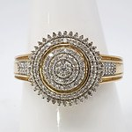 18ct Yellow Gold Ring With Tiered Cluster of Single Cut Diamonds