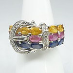 18ct White Gold 'Belt Buckle' Ring with Yellow Topaz, Pink Sapphires, Natural Sapphires and Diamonds