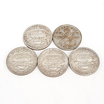 Four Australian 1927 Silver Parliament House Florins and 1951 Federation Jubilee Florin