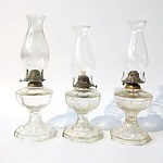 Three Vintage Moulded Glass Lanterns