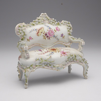 German Porcelain and Flower Encrusted Miniature Louis Style Settee