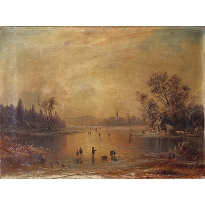 19th Century European School, Winter Frozen Lake Scene, Oil on Canvas, Signed Indistinctly Lower Left, Probably Adolf Stiglmayer (German 1841-1916)