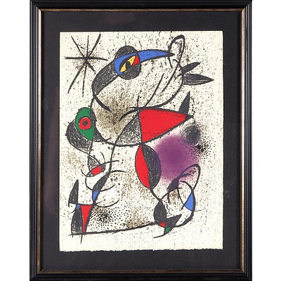 Jean Miro Lithograph in Colours on Hand Wove Paper, and a Marc Chagall Unframed Lithograph