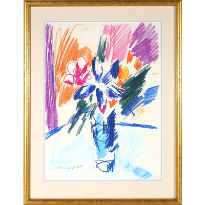 Lothar Krieger (German 1943-1997) Still life, Crayon, Signed and Dated Lower Left 85