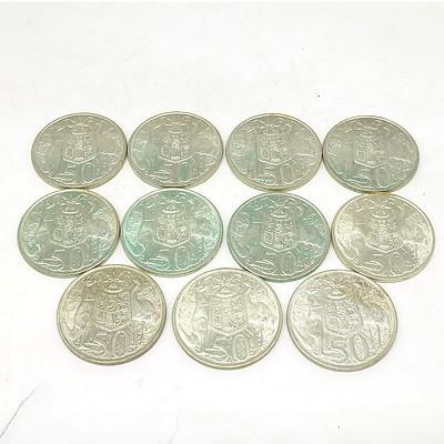 Eleven Australian 1966 Silver 50 Cent Coins