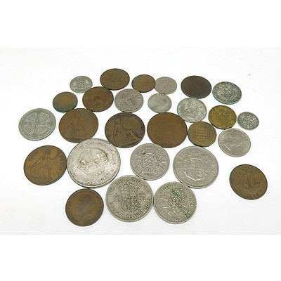 Group of British Coins, Including 1937 Crown, 1958 Half Crown, 1948 Half Crown, 1928 Florin and More