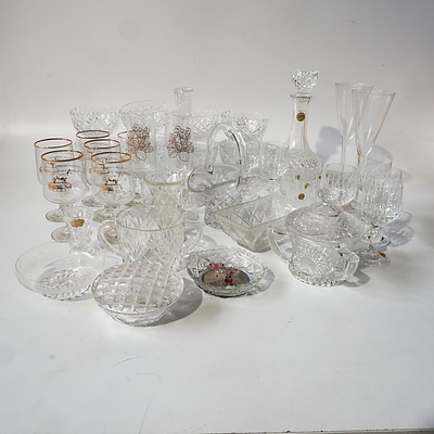Quantity of Approximately 43 Crystal, Cut Glass and Glass Including Astra Hand Cut Lead Crystal, Cristal D'Arques and More
