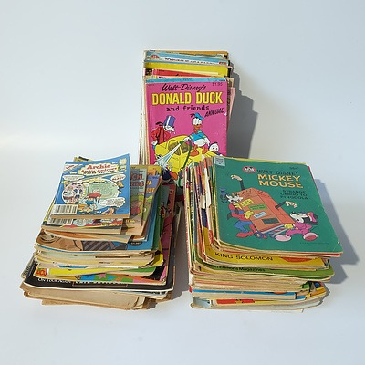 Large Group of Vintage Comics and Children's Books Including Disney, Looney Tunes and Rolling Stone