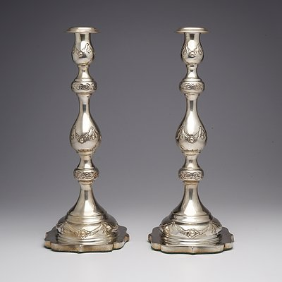 Pair of Hand Made Antique Art Nouveau Sterling Silver Candlesticks