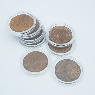 Group of Eight Cased Australian Pennies