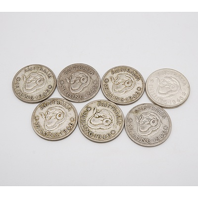 Group of Seven 1946 Shilling Coins