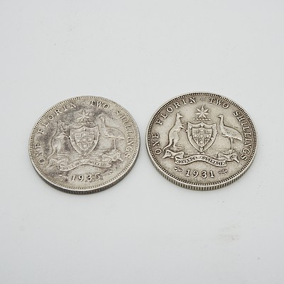 1935 and 1931 Australian One Florin Two Shillings Coins