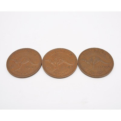 Two 1951 Australian Pennies and One 1949 Australian Penny