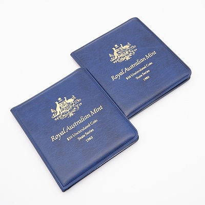 Two 1985 Royal Australian Mint State Series $10 Uncirculated Coins