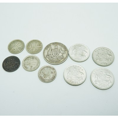 Group of Three Pence, Six Pence and One Shilling Coins