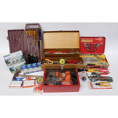Stanley Screwdriver Set, Sidchrome Spanner and Socket Set, Black and Decker Corded Drill, Toolbox, Light Globes, Power outlets and More