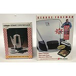 George Foreman Grilling Machine, Supreme Coffee Percolator and Vintage Home Electricals