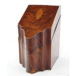 George III Mahogany and Boxwood Strung Knife Box with Inlaid Shell and Fan Paterae, Late 18th Century