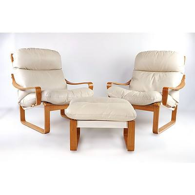 Pair of Tessa T8 Cream Leather Upholstered Armchairs and Matching Ottoman, Designed by Fred Lowen