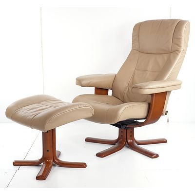 IMG Norway Beige Leather Upholstered Armchair and Footstool