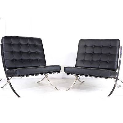 Pair of Replica Barcelona Chairs with Black Vinyl Upholstery