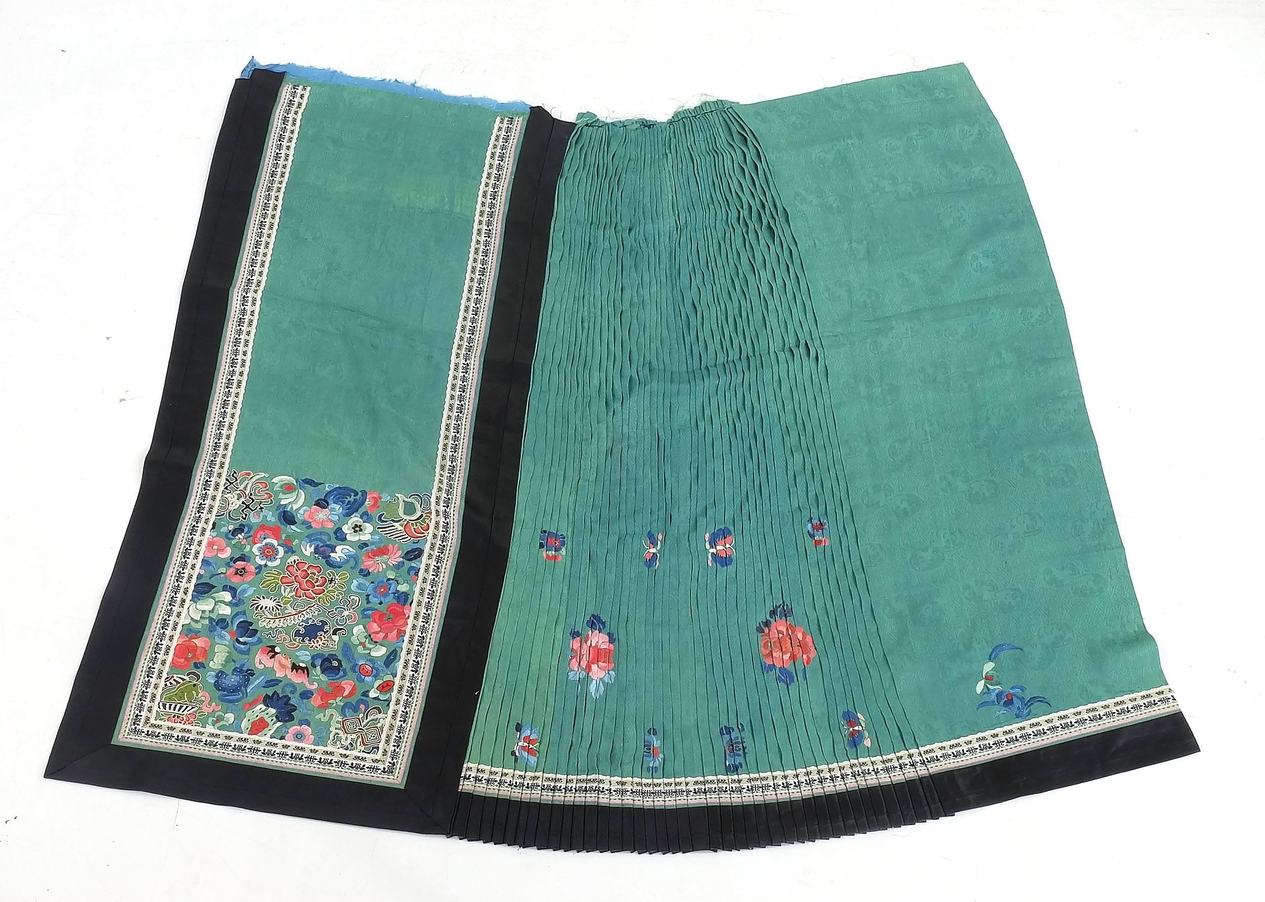 'Chinese Embroidered Teal Colour Damask Silk Skirt Fragment, Late 19th Century'