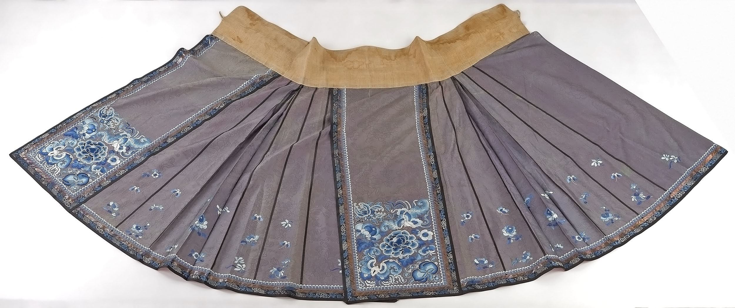 'Chinese Embroidered Grey Silk Damask Skirt with Metal Thread Border, Late 19th Century'