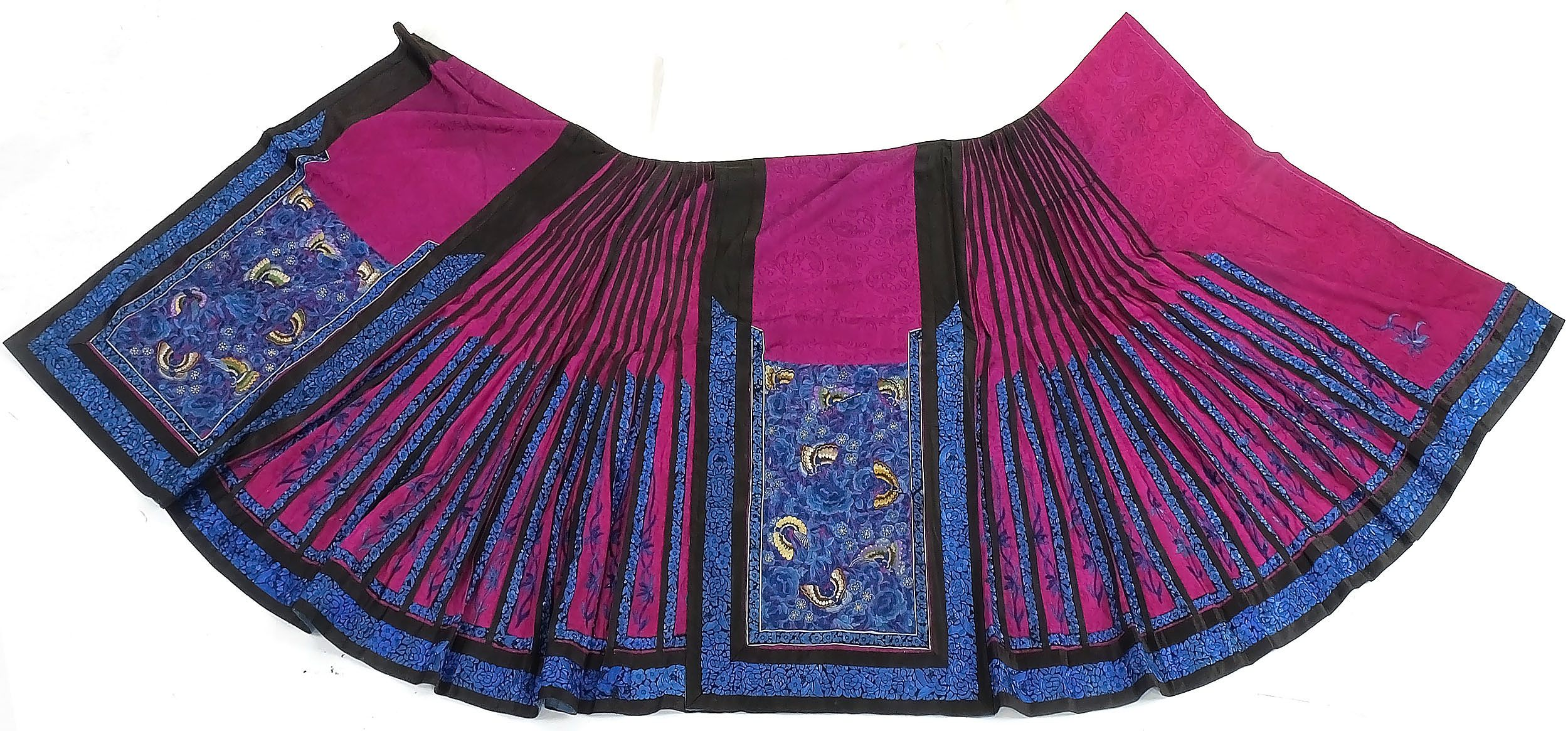 'Chinese Embroidered Fuchsia Colour Damask Silk Skirt, Late 19th Century'
