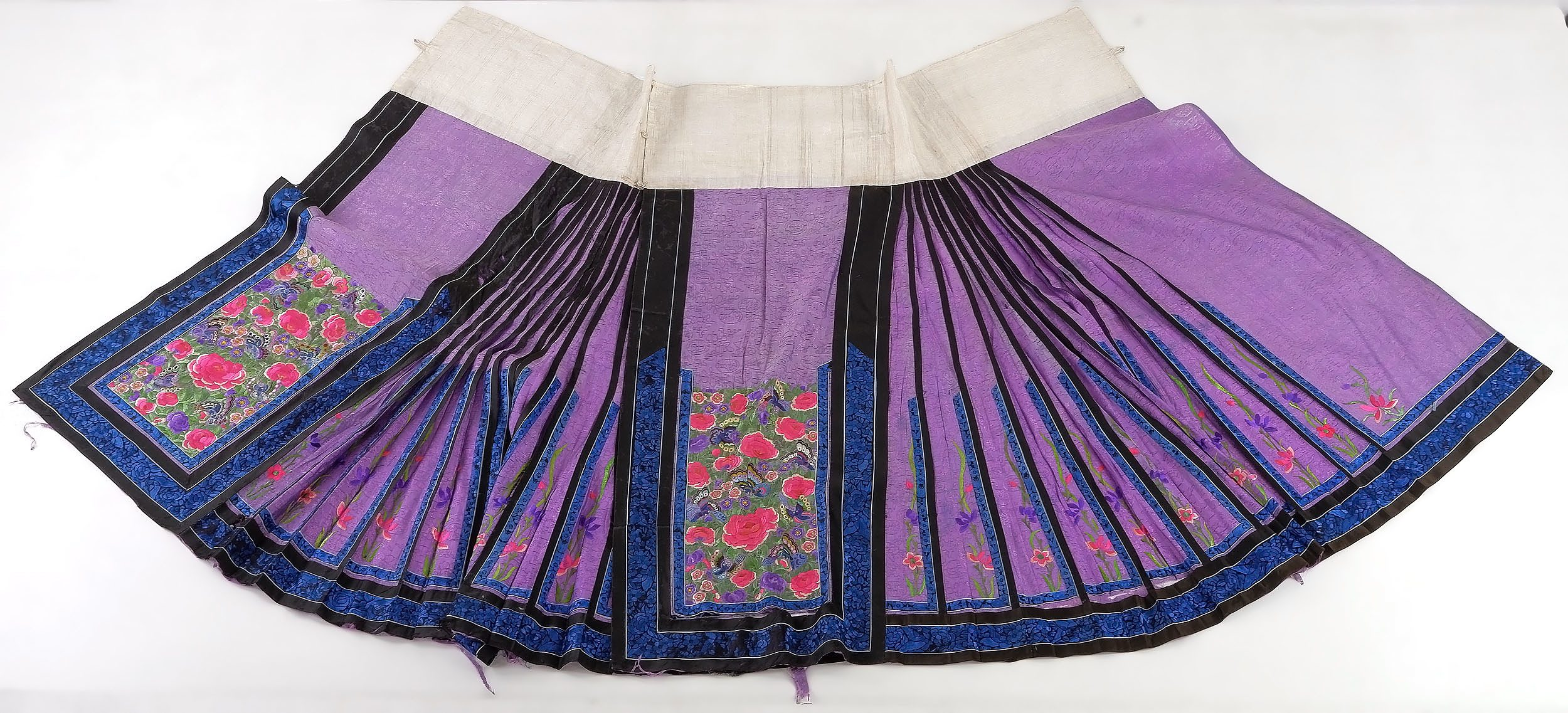 'Chinese Embroidered Purple Colour Damask Silk Skirt, Late 19th Century'
