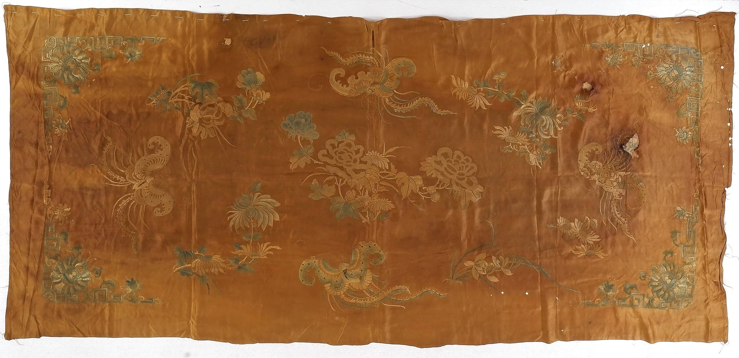 'Chinese Embroidered Silk Coverlet or Altar Frontal, 19th Century'
