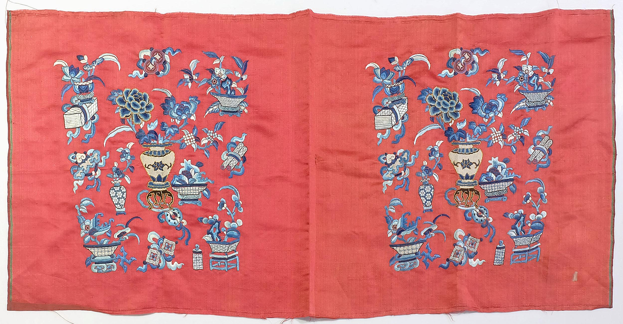 'Chinese Embroidered Silk Uncut Double Panel, Late 19th/Early 20th Century'
