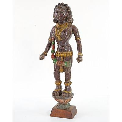 Antique Indian Carved and Polychromed Wood Figure of the Ogress Putana