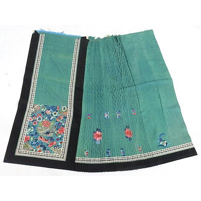 Chinese Embroidered Teal Colour Damask Silk Skirt Fragment, Late 19th Century