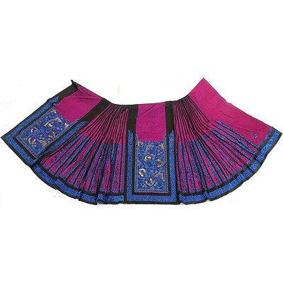 Chinese Embroidered Fuchsia Colour Damask Silk Skirt, Late 19th Century