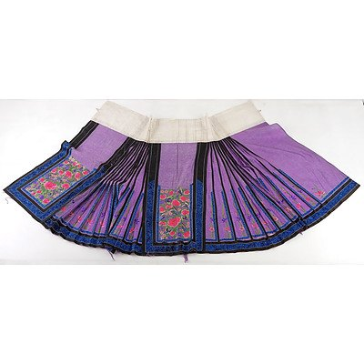 Chinese Embroidered Purple Colour Damask Silk Skirt, Late 19th Century