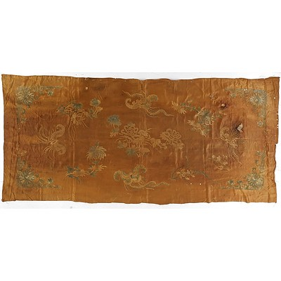 Chinese Embroidered Silk Coverlet or Altar Frontal, 19th Century