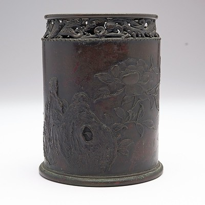 Small Chinese Bronze Brush Pot with Seal Mark to Base, 19th Century or Earlier