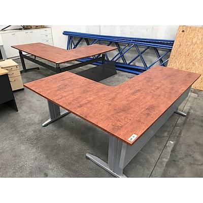 Laminate L-Shaped Desks - Lot of 3