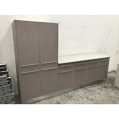 Large Laminate Storage Cabinet With Bench