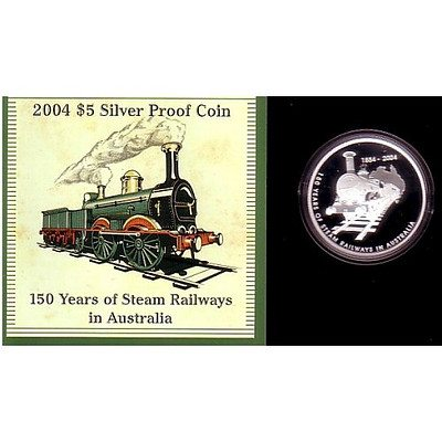 Australia 2004 $5 Silver Proof Coin Steam Railways